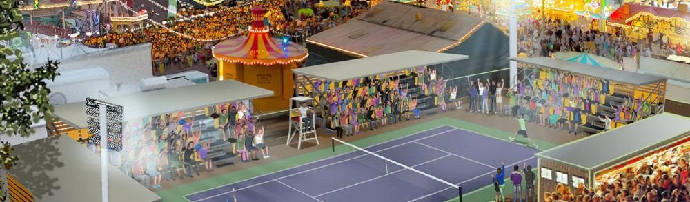Tennis auf der Düsseldorfer Kirmes